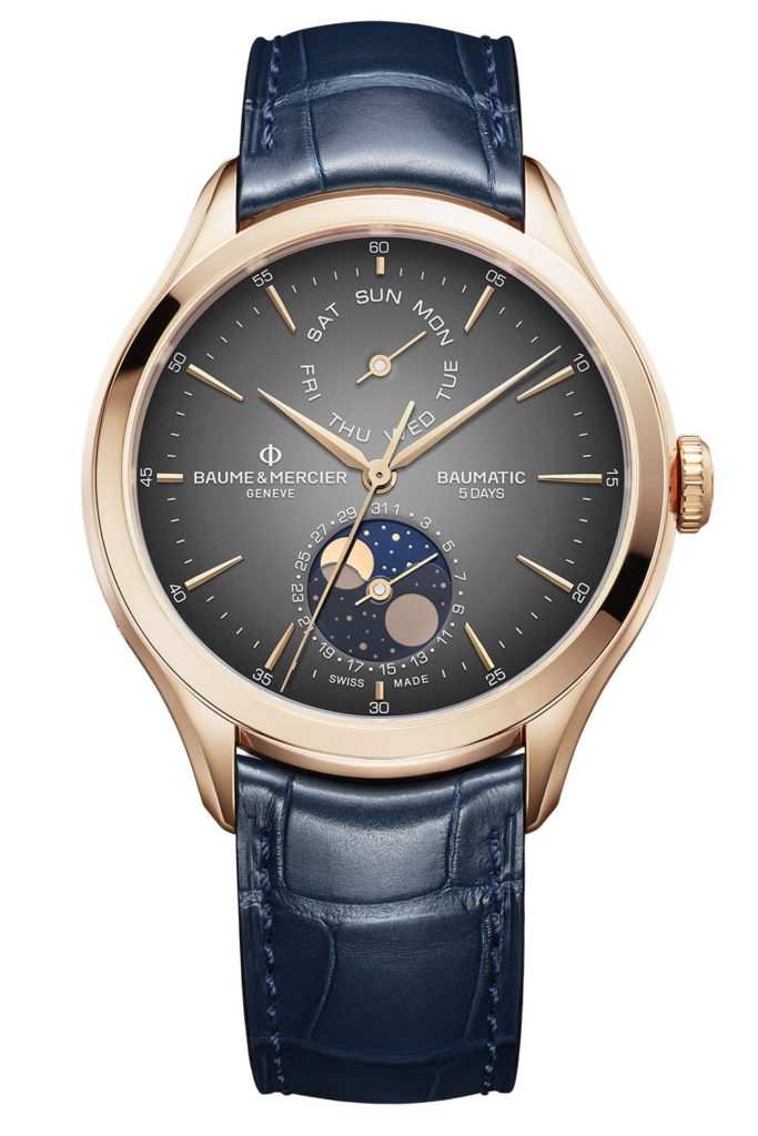 baume et mercier clifton baumatic day date moon phase oro rosa pack