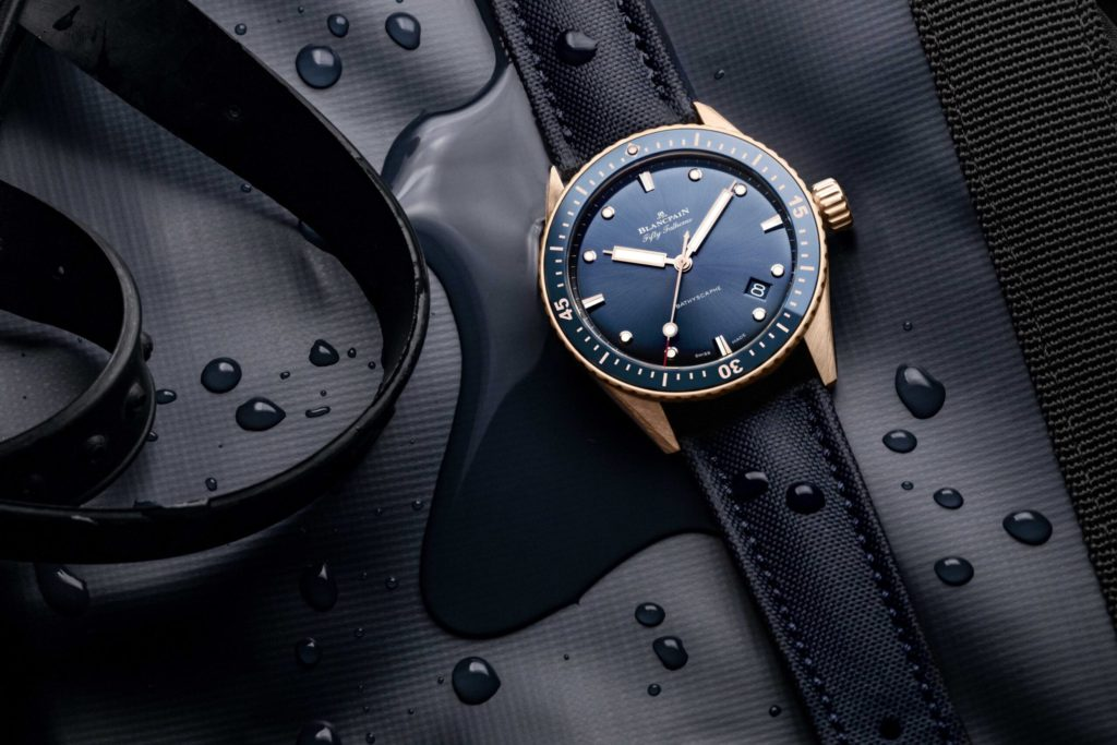 blancpain fifty fathoms bathyscaphe sedna gold scaled