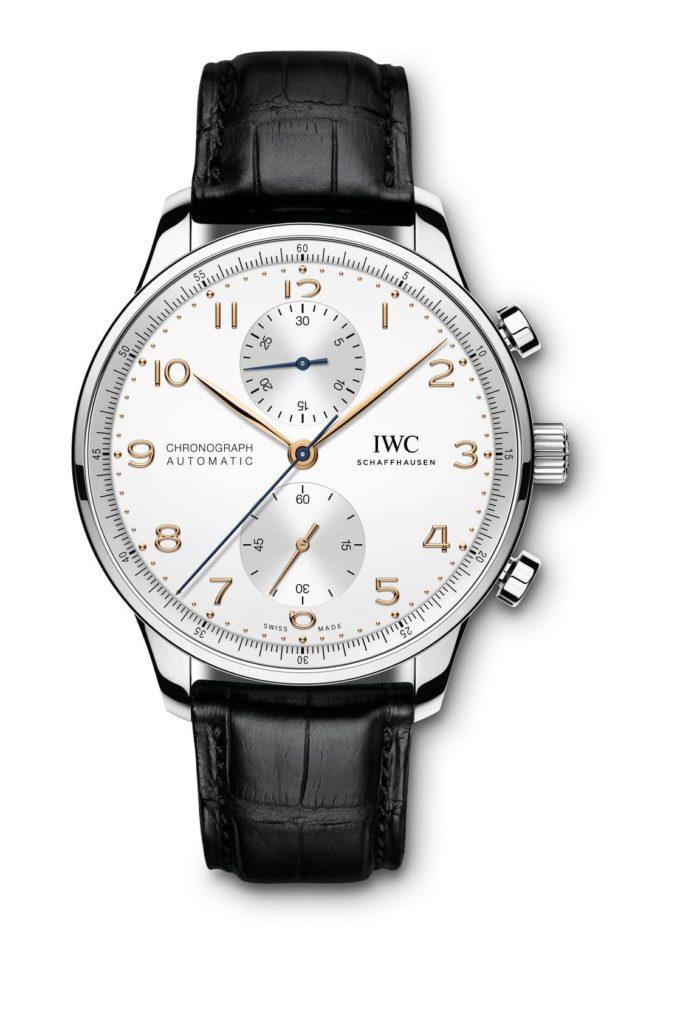 iwc schaffhausen portugieser chronograph 2020 acero agujas oro rosa