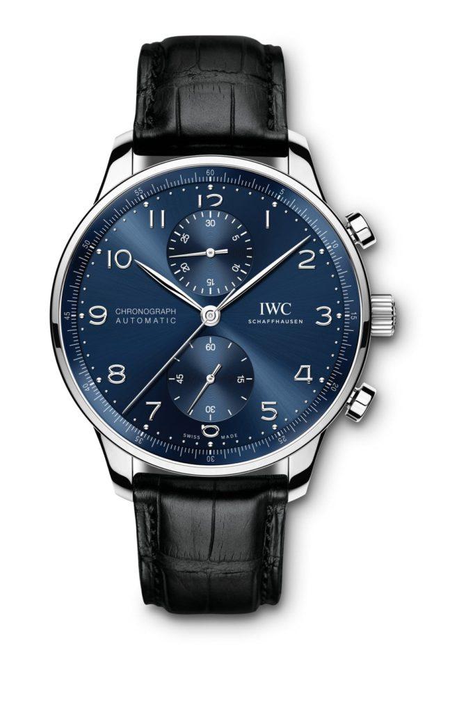 iwc schaffhausen portugieser chronograph 2020 acero caratula azul