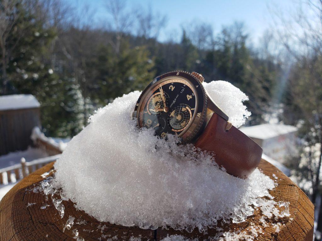 reloj clima frio montblanc geosphere caja de bronce