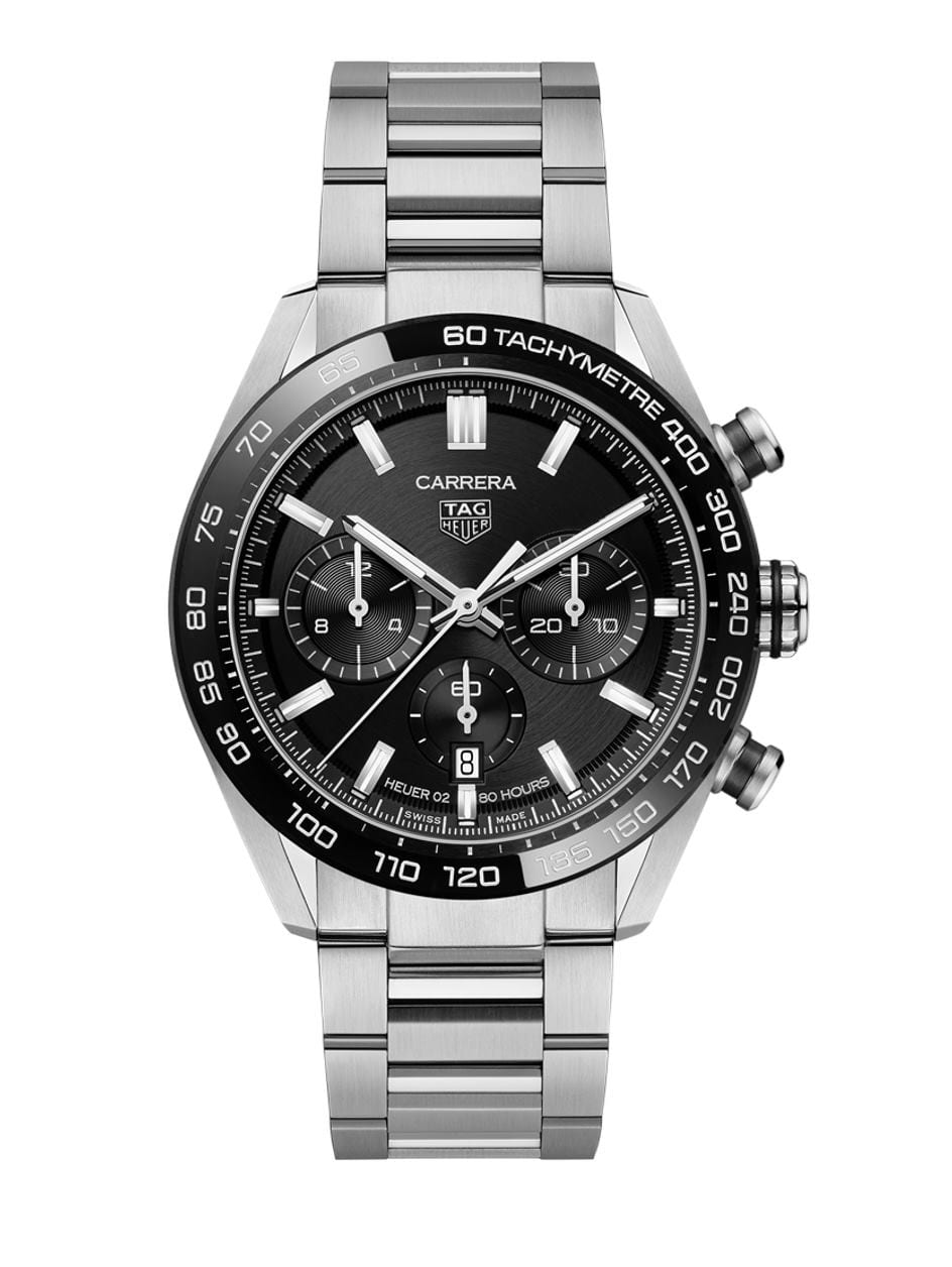 tag heuer carrera chronograph heuer 02 steel black dial