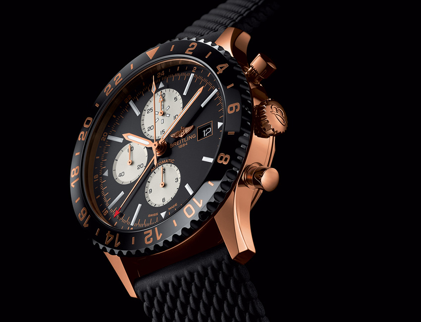 breitling de oro rojo dosponible en ultrajewels|el reloj favorito de los aviadores ahora en oro rojo|breitling negro y oro rojo