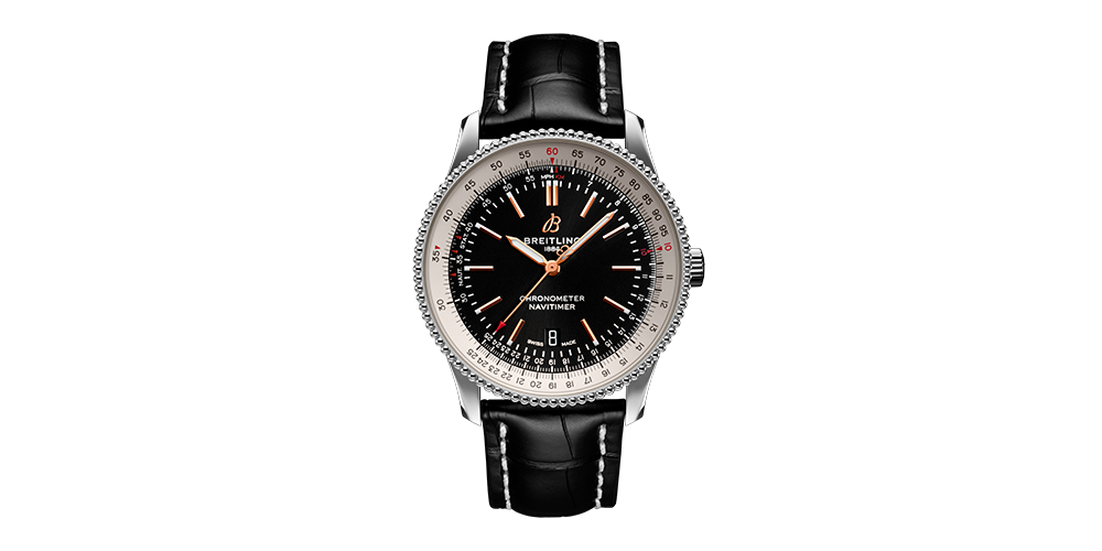 navitimer 1 automatic 41 with black dial and black alligator leather strap 22820 19 03 19