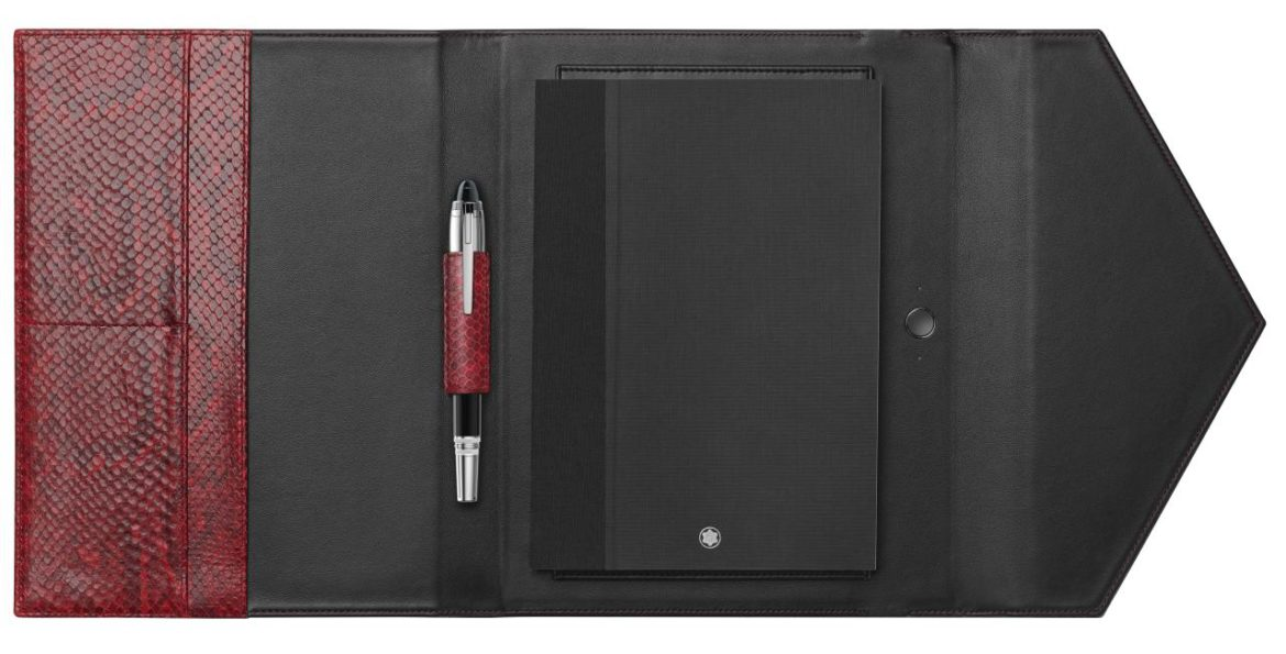 MONTBLANC </br/> Python Printed Augmented Paper Red Set </br/> 123667