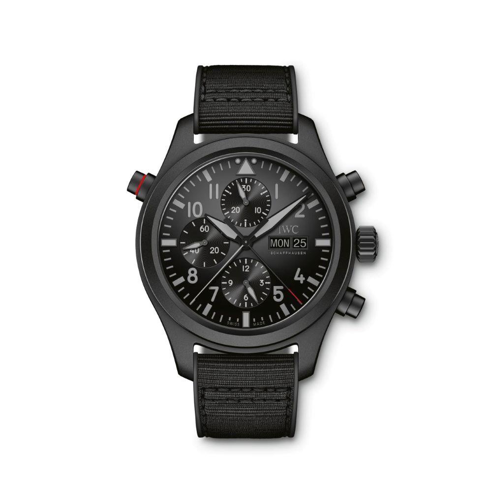 IWC Schaffhausen </br>Reloj De Aviador Doble Cronógrafo Top Gun Ceratanium </br>IW371815